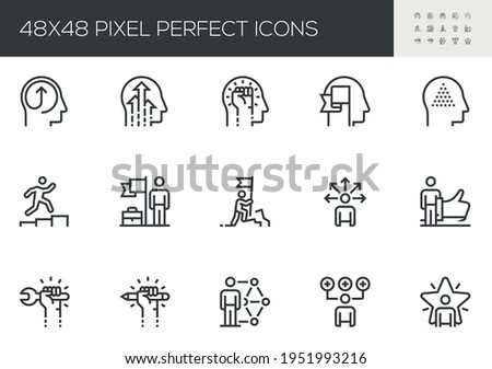 Set of Vector Line Icons Related to Skill. Skill Up, Self Development, Improving Skills, Ability, Goal Achievements. Editable Stroke. 48x48 Pixel Perfect.