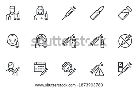 Set of Vector Line Icons Related to Vaccine. Vaccination of Children and Adults, Injection, Medical Syringe, Ampoule. Editable Stroke. Pixel Perfect.