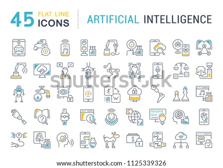 Set of vector line icons, sign and symbols with flat elements of artificial intelligence for modern concepts, web and apps. Collection of infographics logos and pictograms.