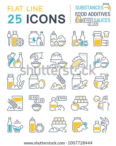 Set of vector line icons, sign and symbols with flat elements of food additives for modern concepts, web and apps. Collection of infographics logos and pictograms.