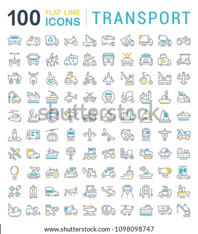 Set of vector line icons, sign and symbols with flat elements of transport for modern concepts, web and apps. Collection of infographics logos and pictograms.