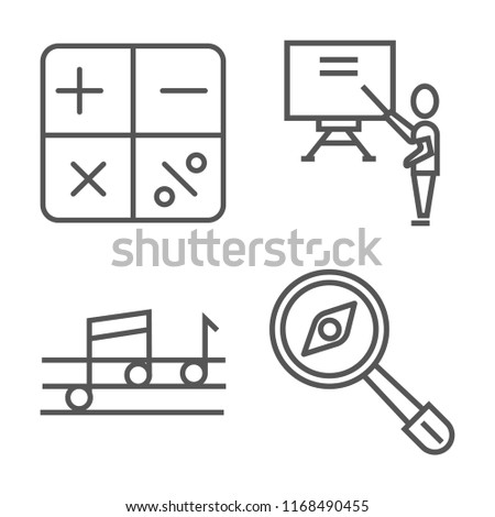 Set of 4 vector linear icons such as Mathematical, Classroom, Quaver, Magnifying Glass with Worms, web UI editable stroke icon pack, pixel perfect
