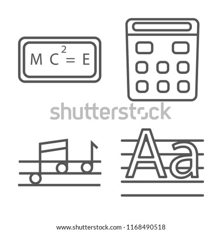 Set of 4 vector linear icons such as Relativity formulae, School Calculator, Quaver, Write By Hand, web UI editable stroke icon pack, pixel perfect