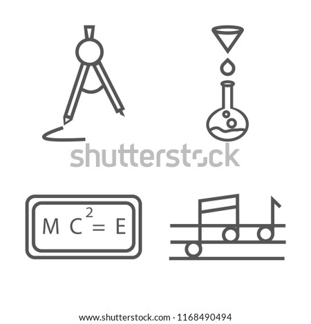 Set of 4 vector linear icons such as School Compass, Chemistry Funnel, Relativity formulae, Quaver, web UI editable stroke icon pack, pixel perfect