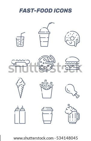 Set of vector lined fast food icons.