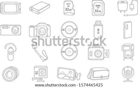 Set of Vector Liner Icons. Electronic Devices. Digital Devices.