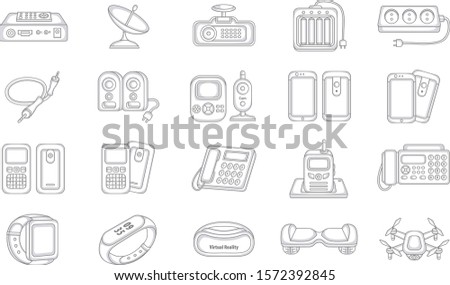 Set of Vector Liner icons. Liner Electronic Devices. Vector Digital Devices.