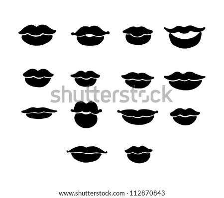 Lips Vector Black Set Of Vector Lips In Black