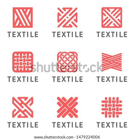 Set of vector logo design for shop knitting, textile