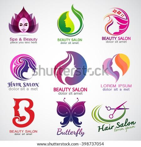 set of vector logos beauty