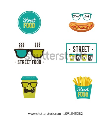 Set of vector logos. Fast food and street food. Images of hot dog, French fries, coffee. Can be used for design corporate identity, web site, labelling, packaging, banners and signage. #1091545382