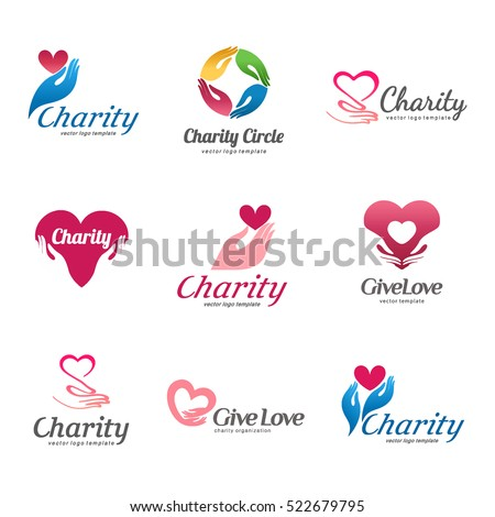 Set of vector logos for charity and care. Logo for the orphanage, elderly care.