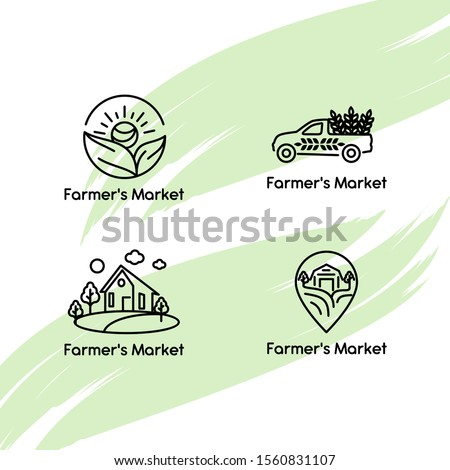 Set of vector logos for farmers. Design element for livestock, farming, farming, peasantry, ecology, eco-life, environmental friendliness. Template for logos, textiles, packaging and other uses.
