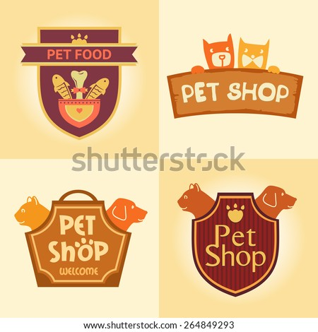 set of vector logos for pet