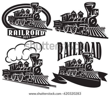 Set of vector logos in vintage style with locomotives. Emblems, labels, badges or patterns on a retro railroad theme