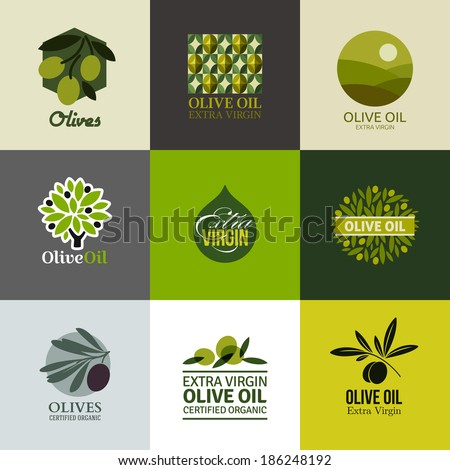 Set of vector logos, labels and emblems with olive branch