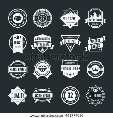 Set of vector logotypes elements, icons, symbols, labels, badges and silhouettes