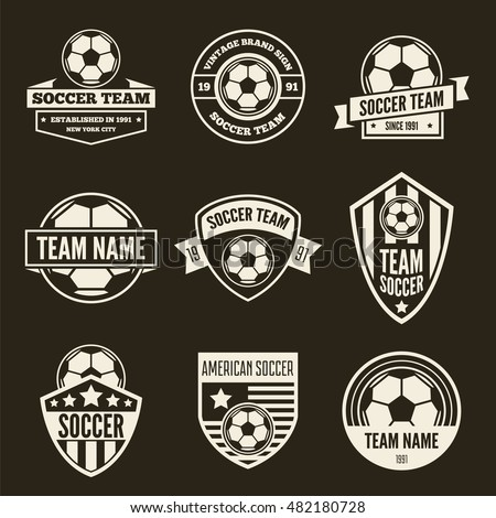 Set of vector logotypes elements, labels, badges and silhouettes for soccer or football