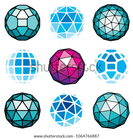 Set of vector low poly spherical objects, 3d geometric shapes. Perspective trigonometry facet orbs created with triangles, squares and pentagons.