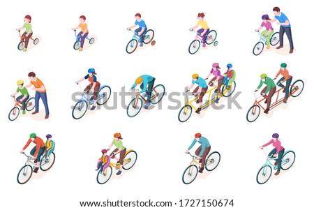 Set of vector man and woman bicyclist with kid or child. Bicycle transport. Triple and double, duo, sport bike. Vehicle with wheel and pedal. Couple or tandem riding. Children tricycle. Biking