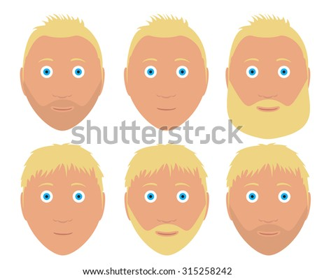 set of vector man faces with