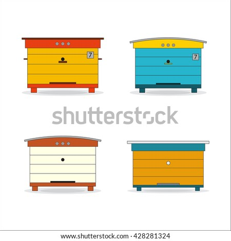 set of vector man made beehives