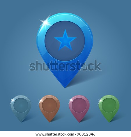 Set of vector map pins on blue background - stock vector