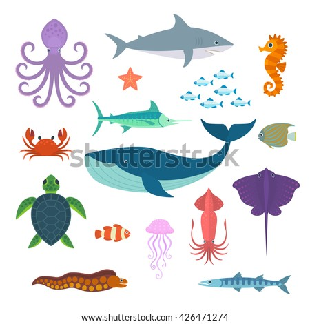 set of vector marine fish and