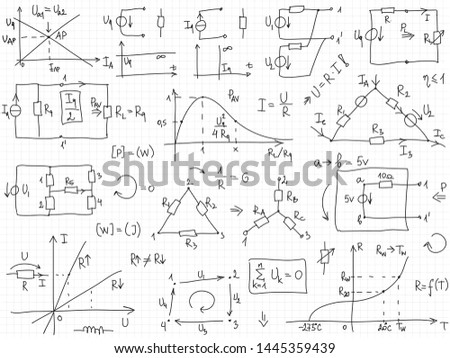 Set of vector mathematical formulas and solutions to problems and equations.  Homework of a student. Vector image of algebra and electrical engineering tasks.