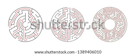 Set Of Vector Mazes. Circle Labyrinth Illustrations