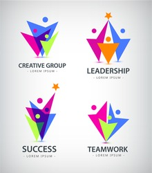 Set of vector men, human logos, icons. Family, team, people logos, leadership business logos