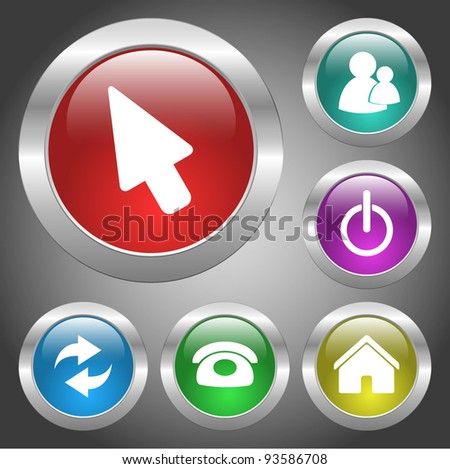 Set of vector metal buttons with web icons illustration. Round series