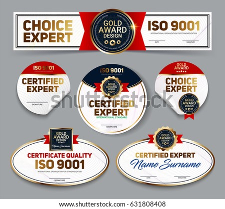 Set of vector mini certificate quality banners with line protection and gold award emblem, ISO 9001 certified.