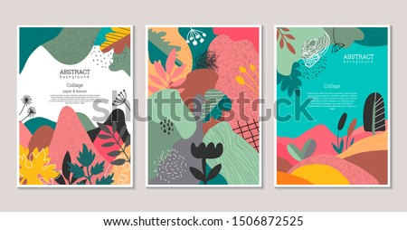 Set of vector modern artistic posters with hand drawn textures, plants, leaves and cut out paper shapes. Abstract nature collage with autumn lanscape. Templates for broshure, greeting cards.