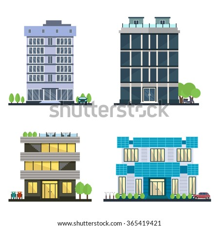 Set of vector modern business center with diverse architecture facades.Houses and office buildings in a big city. Shops and cafes, offices. Elements for the construction of urban landscapes. Flat