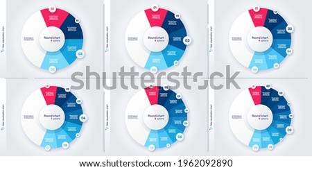 Set of vector modern circle chart infographic templates. 4-9 options.