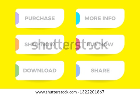 Set of vector modern flat style buttons. Different colors and icons with shadows. Purchase. More Info. Shop Now. Buy Now. Download. Share. #1322201867