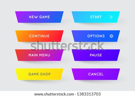 Set of Vector Modern Gradient App or Game Buttons. Trendy gradient colors with shadows.