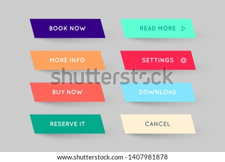 Set of Vector Modern Gradient App or Game Buttons. Trendy gradient colors with shadows.  #1407981878