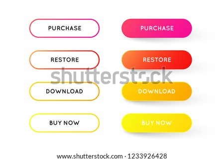 Set of vector modern material style buttons. Different colors with trendy Gradient of outline strokes and icons on white forms with shadows. #1233926428