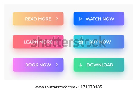 Set of vector modern material style buttons. Different gradient colors and icons on rectangular forms with shadows.