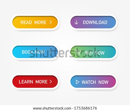 Set of vector modern material style buttons. Different gradient colors and icons on white forms with shadows.