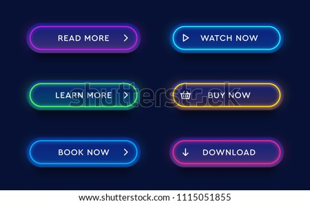 Set of vector modern neon glowing buttons. Different colors of tubes and icons on dark rounded forms.