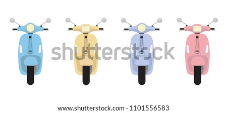 set of vector modern scooters