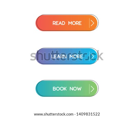 Set of vector modern trendy flat buttons. Different colors of main shapes and icons with black outline frames.  #1409831522