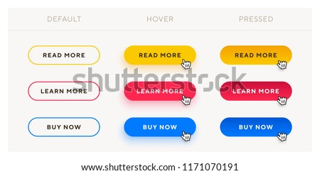 Set of vector modern trendy flat buttons with different states. Different colors of main shape with oval outline frames.