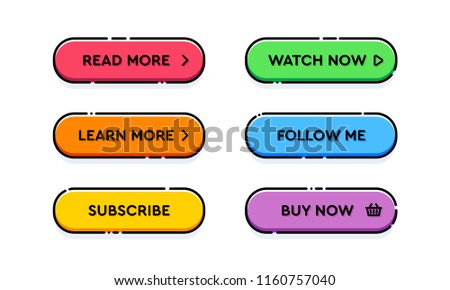 Set of vector modern trendy flat outline buttons. Different colors of main shapes and icons with black stroke frames. #1160757040