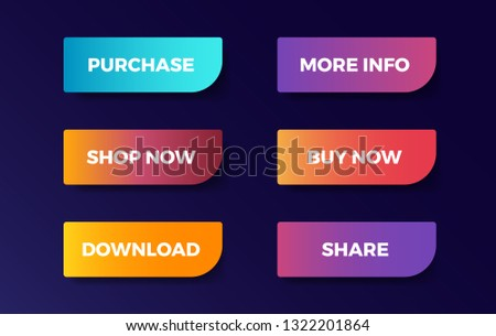 Set of vector modern trendy neon line buttons. Different gradient colors. Purchase. More Info. Shop Now. Buy Now. Download. Share. #1322201864