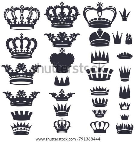 Set of vector monarchy qeen kings crowns top crest summit peak pinnacle tip head brow cap brink highest zenith apex ridge shapes design works ready.