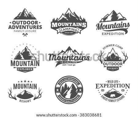 Set of vector mountain and outdoor adventures logo